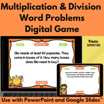 Summer Multiplication and Division Word Problems Digital Game