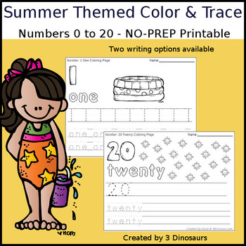 Summer Themed Number Color and Trace