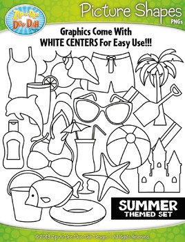 Summer Themed Picture Shapes Clipart Set — Includes 20 Graphics!