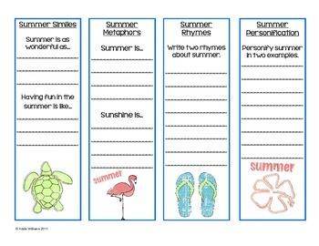 Figurative Language Bookmarks and Poster - Summer Themed