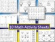 Summer Themed Print & Go Pack/10 Math & 10 ELA Activity Sheets