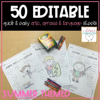 Summer Themed Quick and Easy Speech & Language Sheets