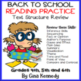 Back To School Text Structure, Reading Skills Review Activities