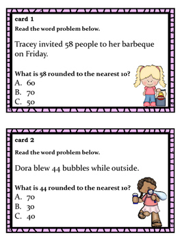 Math Task Cards: Rounding in Reading Problems