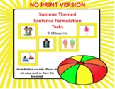 Summer Themed Sentence Comprehension Tasks - NO PRINT Version