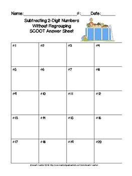 Summer Themed Subtraction Without Regrouping Sorting Activity & SCOOT