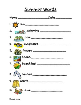 Summer Themed Vocabulary Words Handwriting