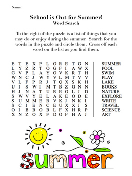 Summer Themed Word Search Puzzles Back To School Or End Of Year
