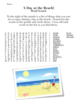Summer Themed Word Search Puzzles (Back to School or End of Year)