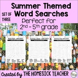 Set of Three Summer Themed Word Searches (grades 2 - 5)