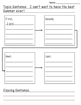 Summer Themed Writing Graphic Organizers