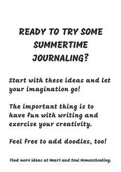 Summer Themed Writing Prompts Journal