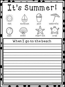 Summer Themed Writing Worksheets