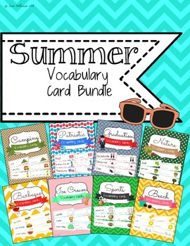 Summer Themes Vocabulary Card Bundle