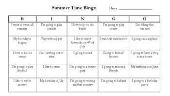 Summer Time Bingo