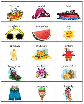 Summer Time Bingo Game