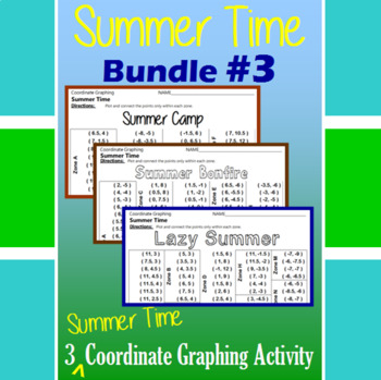 Summer Time Bundle #3 - 3 Summer Time Coordinate Graphing Activities