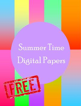 Summer Time Colorful Ombre Digital Papers
