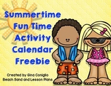 Summertime Fun Time Activity Calendar