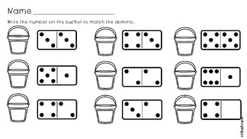 Summer Time How Many on Ten Frame and Domino? No Prep Worksheets