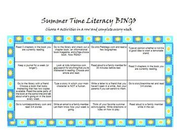 Summer Time Literacy Activities