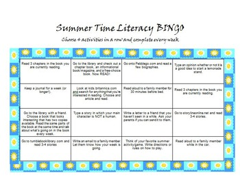 Summer Time Literacy Activities