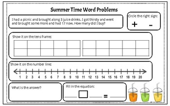 Summer Time Maths Word Problems - add/sub to 20
