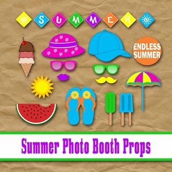 Summer Time Photo Booth Props and Decorations - Printable