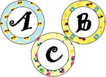 Summer Time Sunshine Themed 4 inch Circular Bulletin Board Letters