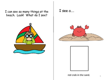 What Do I See at the Beach?  Adapted book in Color & Black/White