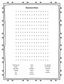 Summer Time (Word Search & Crossword Puzzle)