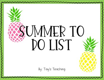 Summer To Do List FREEBIE