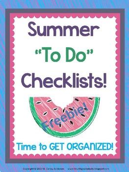 """Summer Tasks """"To Do"""" Checklist Freebie"""