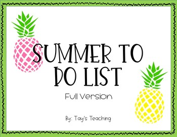 Summer To Do Lists