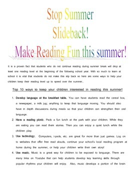 Summer Top 10 ways to stop reading slide back