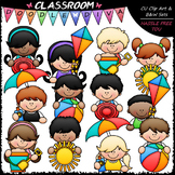 Summer Topper Kids Clip Art - Toppers Clip Art & B&W Set