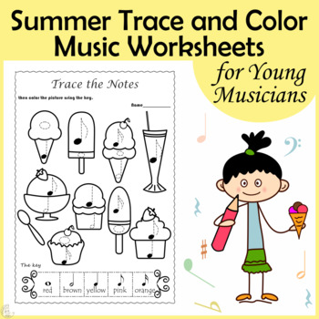 Summer Trace and Color Music Worksheets.