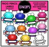 Frog Pencil Labels Clip Art Bundle {Educlips Clipart}