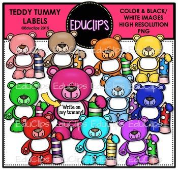 Teddy Tummy Labels Clip Art Bundle {Educlips Clipart}