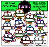 Little Owl Pencil Labels Clip Art Bundle {Educlips Clipart}
