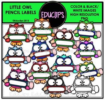 Little Owl Pencil Labels Clip Art Bundle