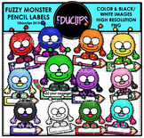 Fuzzy Monster Labels Clip Art Bundle {Educlips Clipart}