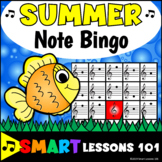 Summer Treble Clef Bingo Game: Summer Music Games: Note Name Activity Lesson