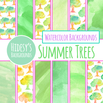 Summer Trees Handpainted Watercolor Digital Papers / Backgrounds Clip Art
