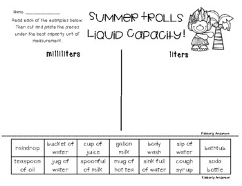 Summer Trolls: Liquid Capacity (Metric) - Milliliters / Liters