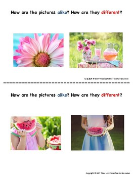 Summer Turn and Talk Cards - Compare and Contrast - Great for ELLs