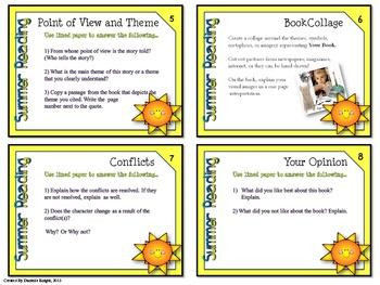 SUMMER TUTOR TASK CARDS: SUMMER READING, ELA GRADES 7-12