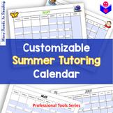 Customizable Summer Tutoring Calendar FREEBIE {Be a Professional Series}