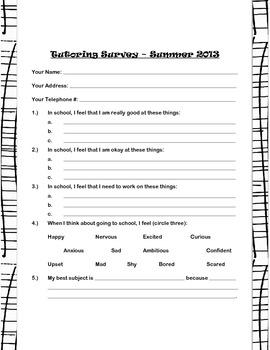 Summer Tutoring Survey