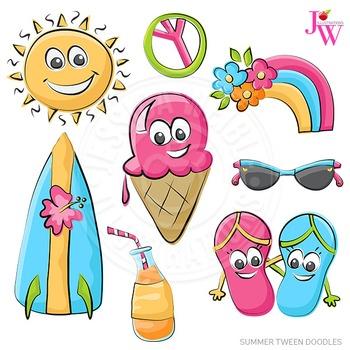 Summer Tween Doodles Cute Digital Clipart, Summer Graphics